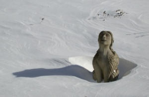 15. Sphinx-like concrete sculpture winter 2011 photographers home